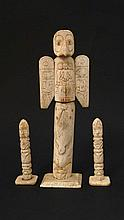 Native American Indian : A  C1900 a 3 piece North West Coast Totem set made from carved bone , has i