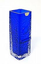 Scandinavian Retro Glass: A 1960s Smalandshyttan, Sweden, studio Art Glass vase in the blue colour w