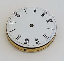 A Pocket Watch Quarter Repeater movement striking on 2 chimes with enamel dial and hinged movement c