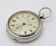 Silver Pocket Watch : a Chester Hall Marked Pocket Watch  with enamel dial signed ' J G Greaves , Sh
