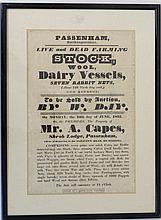An old Auction Notice 1835 for Passenham Northamptonshire live and dead farming stock etc to be sold