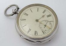 Silver Pocket Watch : a Chester Hall Marked Silver cased pocket watch with enamel dial , Roman Numer