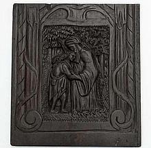 A 17thC hand carved oak fielded panel depicting a figure with crook comforting another, 23 1/4 x 20