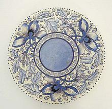 A c1950s ' Blue Peony ' Bursley Ware charger designed by Charlotte Rhead . Pattern TL43. Tube lined