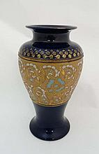 A Royal Doulton Slaters Patent baluster shaped vase. Cobalt blue with gilt enamel detail. Early 20th
