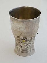 Mogens Ballin ( 1871-1914) Danish : a silver christening beaker with cabochon semi-precious stone se
