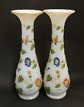 Baccarat Glass :  A pair of late 19thC opaline glass vases with trailed convolvulus decoration with