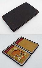 Edwardian leather card case with embroidered kid and silk lined interior  having compartment etc. 5