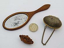 A Dolls hand held mirror ( handbag mirror) in mahogany with boxwood stringing, together with a brass