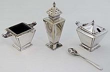 An Art Deco 3-piece silver plate cruet set comprising pepperette, salt and mustard pot