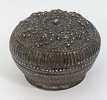 A white metal small pot and cover. Possibly Indian  or Persian. 2 1/4