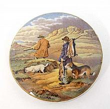 Victorian Pratt pot lid entitled  ' The Sportsman ' depicting figures and dogs with gun and quarry