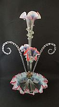 Victorian Table Centrepiece : an ornate glass Epergne with Vaseline and Cranberry glass frilled edge