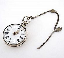 Verge Pocket watch : ' Pearson , Louth '. A hallmarked Silver key wind pocket watch with ornate pier