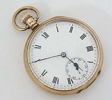 9ct gold pocket watch : A top wind Pocketwatch with enamel dial, seconds dial at 6 , minute markers,
