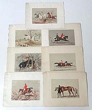 Herring's Sporting Sketches, 7 hand coloured engravings, ' Here t