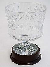 Crystal glass by Derek Burridge : a large etched crystal golfing trophy on