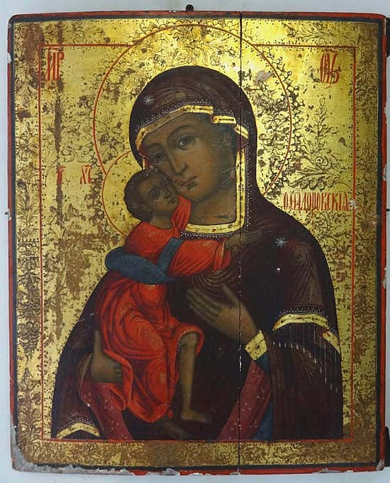 18 / 19thC Russian Icon : The ' Virgin of Theodore