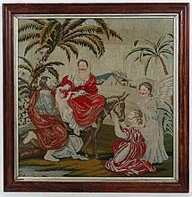 Needlework : A moulded Rosewood framed woolwork ' Jesus, Mary on a Donkey a