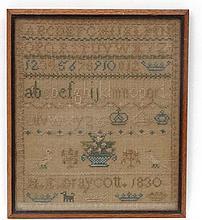 Sampler : ' HE Draycott 1830 ', a framed silkwork 11 1/2 x 9 3/4.