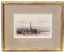Frank V Norie XIX-XX Watercolour Fisherfolk and boats on the shore Signed l