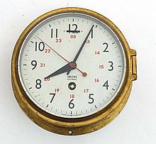 Ships Clock : A Smiths Astral brass cased 5 3/4'' 30 hour timepiece movemen