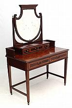 A mahogany strung dressing table with shaped bevelled edged mirror 44 3/4''