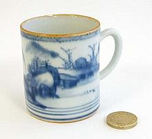 A small Oriental Blue and white coffee can decorated with an Oriental lands