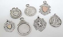 7 assorted early 20thC hallamrked silver fobs (7) (56g)