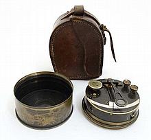 A 19thC Stanley of London travelling sextant together with leather case