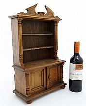 A 19thC miniature pine dresser 11 7/8'' wide x 19'' high x 5'' deep