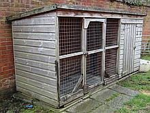 Dogs : a bespoke Gun Dog kennel and integral Run, with inspection door, doo