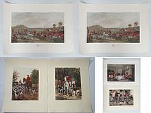 Hunting  Hand coloured engravings  After F Grant ' The Meet at Melt