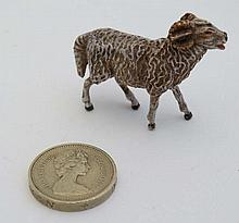 Cold Painted Bronze : a scale figure of a North Country Long horned sheep,