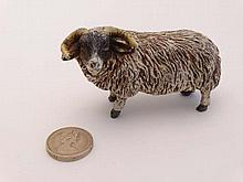 Cold Painted Bronze : a scale figure of an Icelandic horned sheep standing