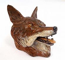 Cold painted Vienna bronze inkwell in the form of a hinged lidded fox head