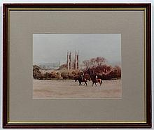 Roger Davies XX,  Watercolour,  Riding past Beverly Minster,  Signed lower left.  8