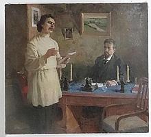 Dmitri Ivanovitch Shmelev  (1918-1992) Russian School,   Oil on canvas,