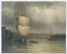 James Hardy XX, Marine School,  Oil on board ,  ' A French Harbour ' ,  Signed lower rig