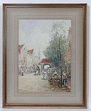 J. R. Miller  XIX-XX,  Watercolour,  A Dutch street scene,  Signed lower left.  14 1
