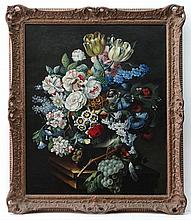 Agricola XX  Continental School,  Oil on canvas,  Still life of flowers arranged on a stone