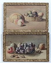 XIX English School,  Watercolours , a pair,  Still life of fruit, Grapes, peaches, Cob nuts,