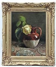 M.H.B 1883,  Oil on canvas,  A still life of a yellow rose bud in a jug,  Signed, initia