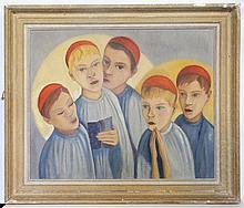 Early-mid XX French School,  Oil on canvas,  Les Choristes  ( The Chorus ).  Titled vers