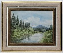 Nora Robinson XX,  Watercolour and gouache,  Salmon River in W Scotland,  Signed lower l