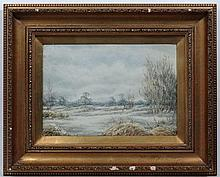Nora Robinson XX,  Watercolour and gouache,  Snow laden landscape,  Signed lower left an