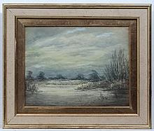 Nora Robinson XX,  Watercolour and gouache,  Frozen river in flood,  Ascribed verso .