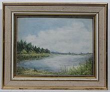 Nora Robinson XX,  Watercolour and gouache,  Scottish River,  Ascribed verso .  9 x