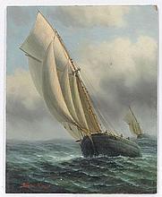 James Hardy XX Marine School,  Oil on board ,  ' Two American Coastal Trade boats ' ,  S