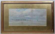 Charles S. Mottram XIX-XX Cornish?,  Watercolour,  Coastal scene with figures ion a beach, s